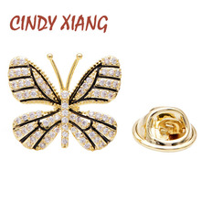 CINDY XIANG Cubic Zirconia Butterfly Collar Pins For Women And Men Unisex Fashion Wedding Suit Brooch Copper Jewelry Good Gift