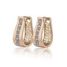 Новинка, серьги-кольца золотого цвета с фианитами для женщин Bijoux CC, серьги-подвески, 9E18K-94