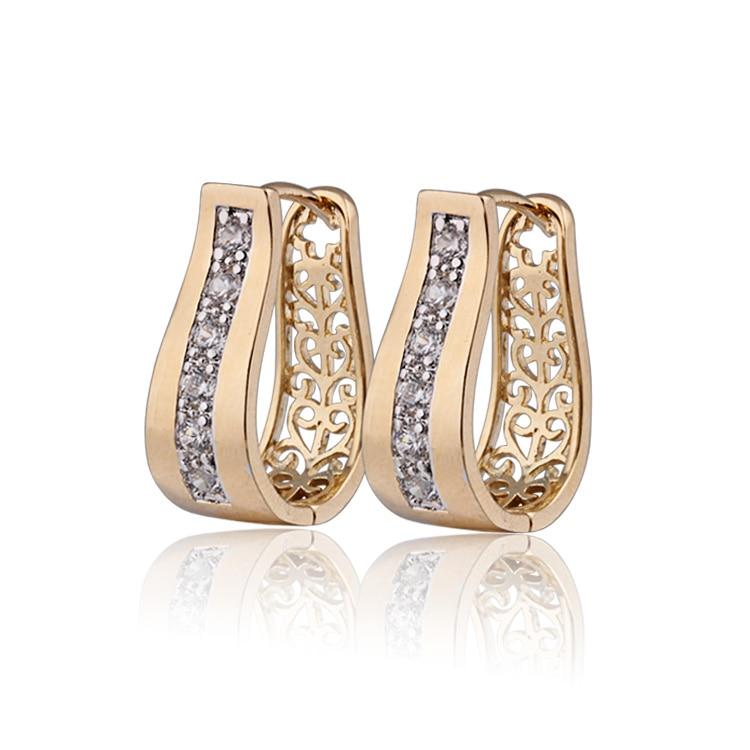 Novi 2017 zlato - boja CZ cirkonij obruč naušnice za žene Bijoux CC naušnice Pendientes Besplatna dostava 9E18K-94