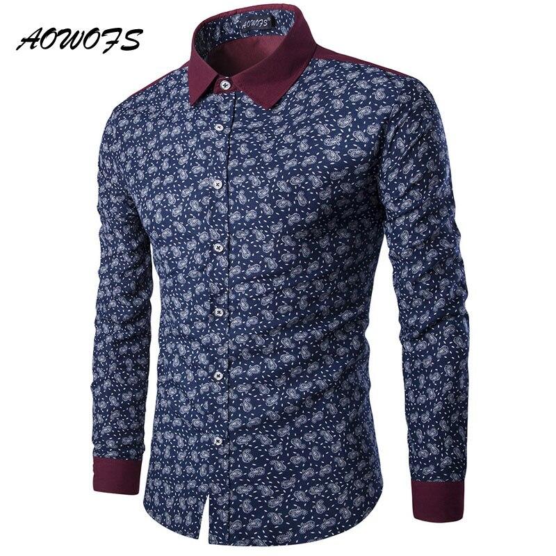 AOWOFS Mens Paisley Shirts Vintage Flowers Shirts Men Slim Fit Long Sleeve Chinese Shirts fashion brand camisa floral masculina