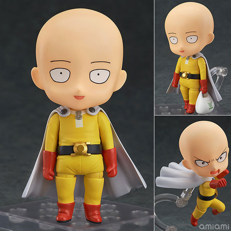 Japanese Anime Action Figure ONE PUNCH MAN Re Make Saitama Sensei Nendoroid Doll PVC Model Doll Toy 4 10cm 10cm spider man japanese anime lovely swing doll cute black panther mobile phone holder shaking head action