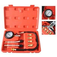 Pressure Compression Tester 9pcs Petrol Gas Engine Cylinder Compressor Gauge Meter Test Leakage Diagnostic Tool