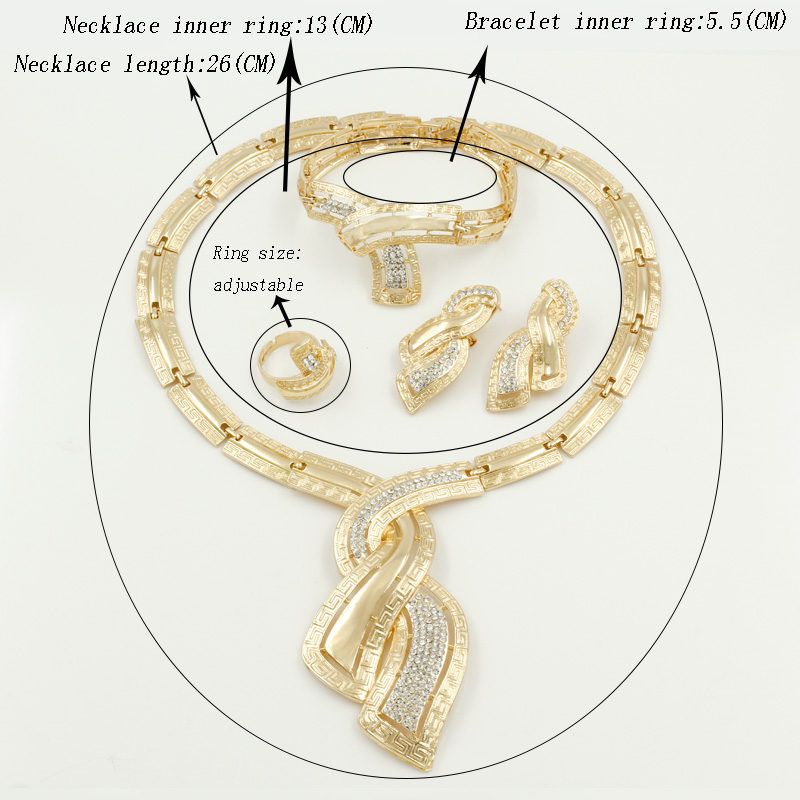 Fashion African Dubai Gold Jewelry Nigerian Crystal Necklace Hoop Earrings Women Italian Bridal Jewelry Sets Wedding Accessories 5