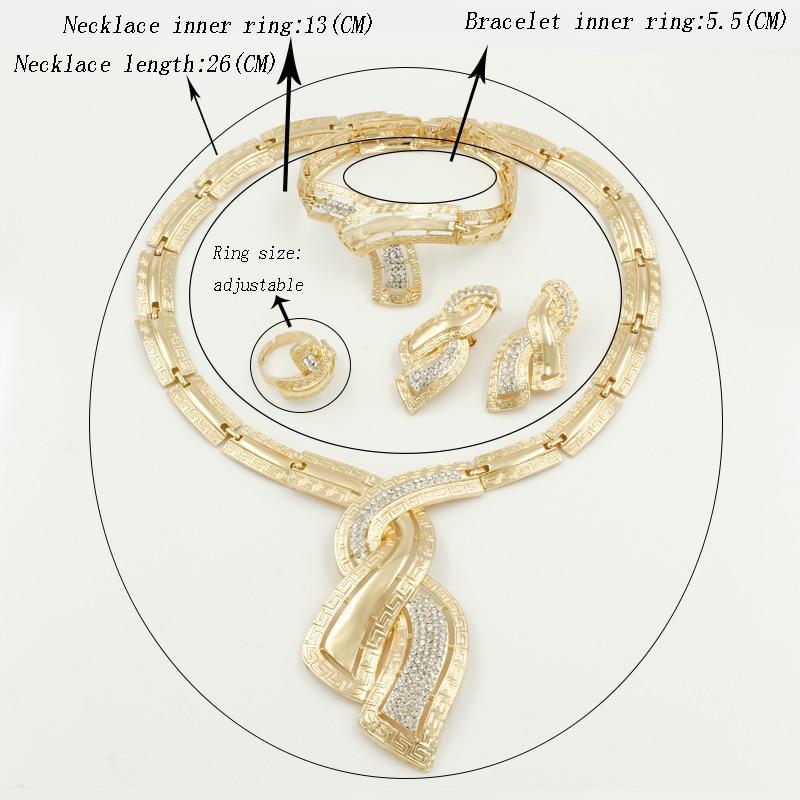 Fashion African Dubai Gold Jewelry Nigerian Crystal Necklace Hoop Earrings Women Italian Bridal Jewelry Sets Wedding