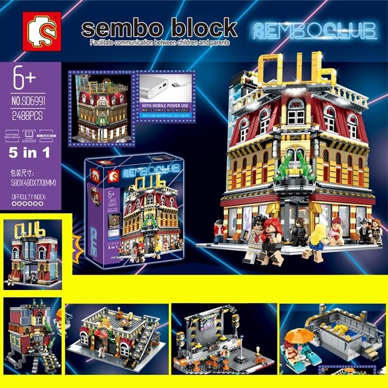 Oyuncaklar ve Hobi Ürünleri'ten İstifleme Blokları'de 5in1 Gece Kulübü bar Kulübü Resort Otel Streetscape USB aydınlatma Yapı Taşları Tuğla Uyumlu legoin Model oyuncaklar Sembo SD6991'da  Grup 1