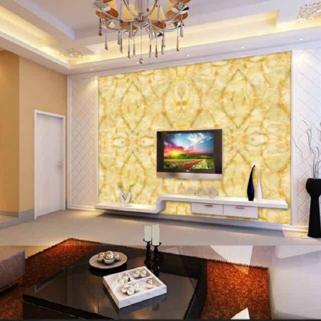 Grote geel marmer textuur ontwerp behang mural schilderen woonkamer ...