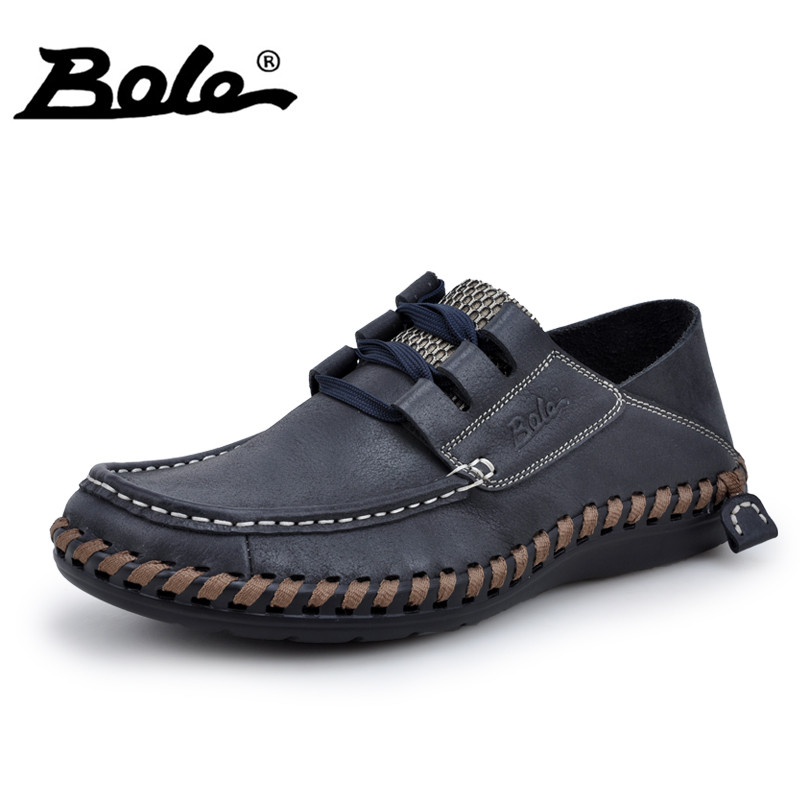 BOLE Handmade Leather Men Shoes 2017 New Designer Lace Up Cozy Driving Loafers Men Flat Fashion Sneakers Weave Casual Men Shoes