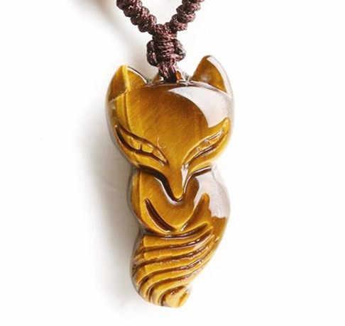 الجملة الأصفر عين النمر قلادة الحجر الطبيعي كافد الثعلب قلادة قلادة حجر الطاقة سترة سلسلة قلادة مجوهرات الأزياء