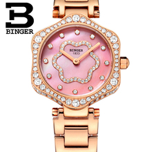 Flower Design BINGER Top Brand Luxury Brand Quartz Wrist Watches Women Rhinestone Golden Case Female Fashion Ladies Clock B1150L