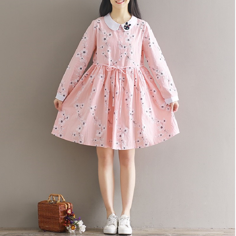 2018 Spring Summer Women Preppy Style Mini Dress Peter Pan Collar