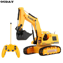 OCDAY 1:10 RC Excavator Car Toys for Kids 5 Channel Charging RC Car With Battery Remote Control Model Engineering Vehicle Toy EU