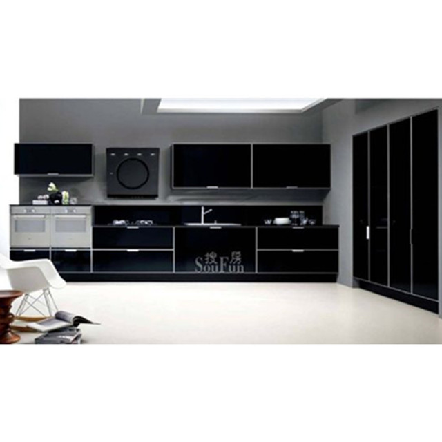 High Gloss Black Kitchen Cabinet In Kitchen Cabinets From Home
