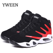 YWEEN heren laarzen hoge top winter sneeuw laarzen mannen bont pluche casual schoenen lace up enkellaarsjes mannen suède mode sneakers(China)