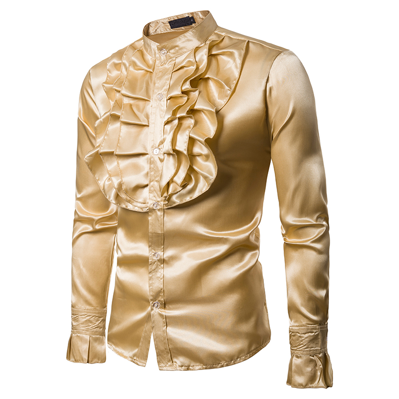 Vintage 70s Frill Ruffle Dress Shirt For Men Vicotorian Costume Top Gothic Punk Retro Tee Faxu Silk Cravat Shirt Halloween