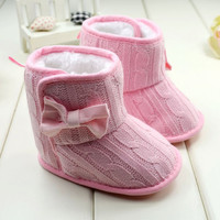 Baby Girls Wool Knitted Bow Baby Shoes Baby Shoes Newborn Winter Winter Boots WMC092XY