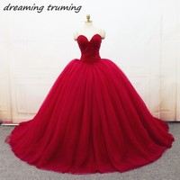 Puffy Red Quinceanera Dresses 2018 Crystal Beading Long Tulle Ball Gowns Dweet 16 Dresses Birthday Party Vestidos De 15 Anos