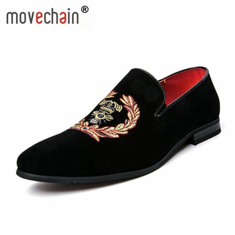 movechain Fashion Men's Casual Embroidery Loafers Mens   Suede   Genuine   Leather   Shoes Moccasins Oxfords Man Wedding Party Flats