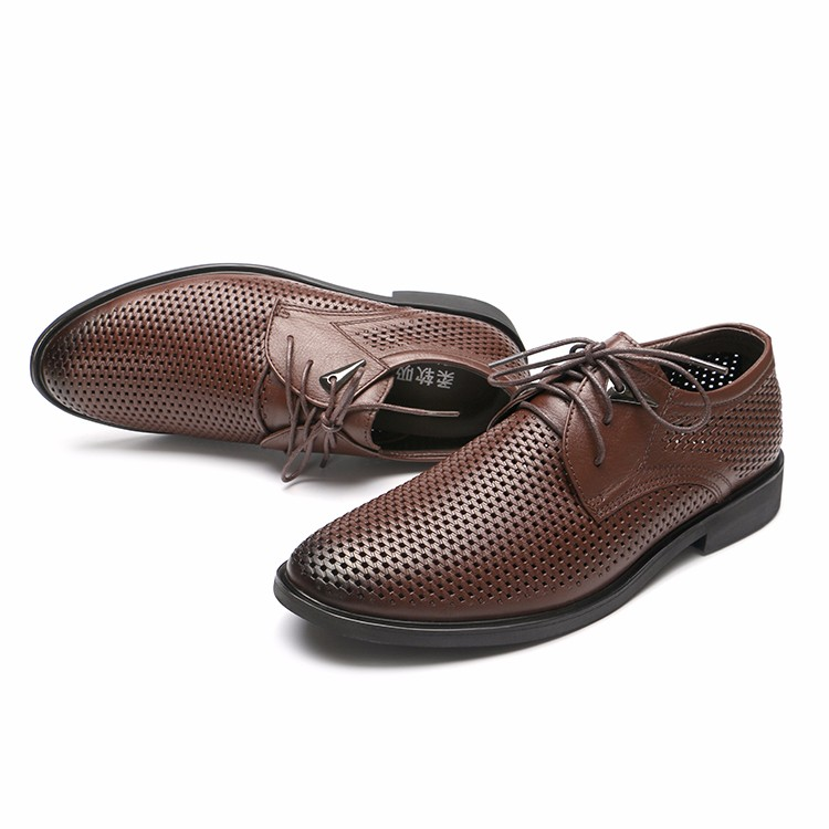 Genuine Leather Dress Shoes Handmade Plus Size Oxfords Shoes Men Mesh Wedding Business Men Shoes Men's Shoes