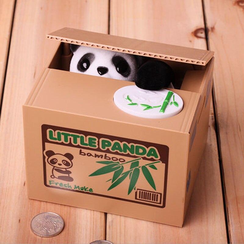 Panda Crianças Caixa de Dinheiro Do Banco Da Moeda Automatizado Gato Ladrão Caixas de Dinheiro De Brinquedo de Presente para Crianças Coin Piggy Money Saving Box