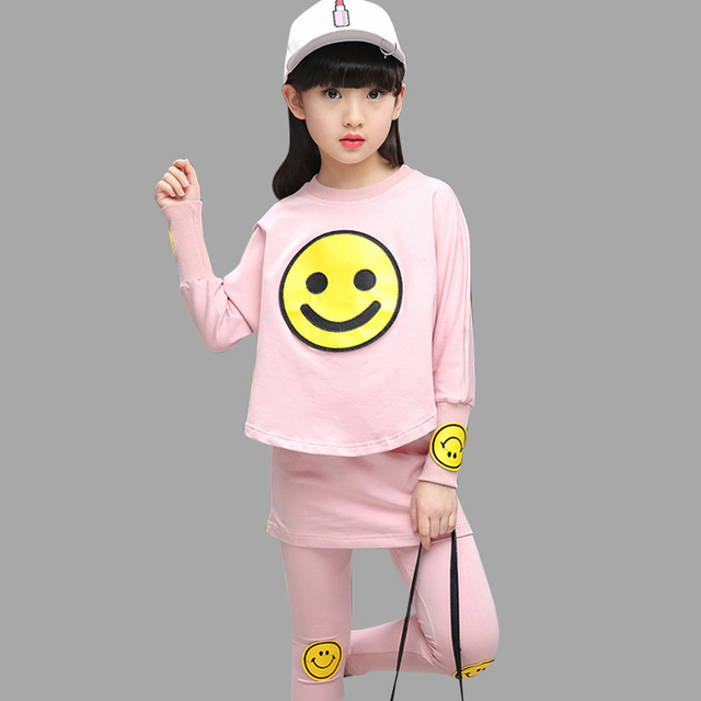 Girls Sports Suit Spring Autumn Kids Sport Outfits For Girls Cute Smile Teenage Kids Tracksuit