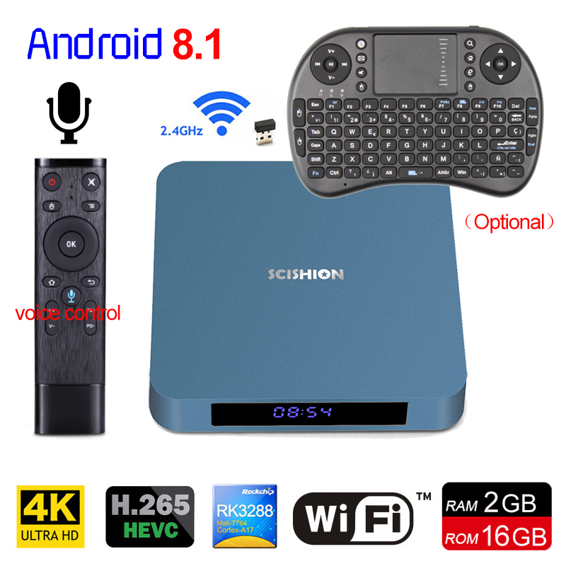 New Android 8.1 TV Box AI ONE RK3328 2GB 16GB Bluetooth 4.0 WiFi USB 3.0 Media Player 4K HD Smart Set Top Box With Voice Control