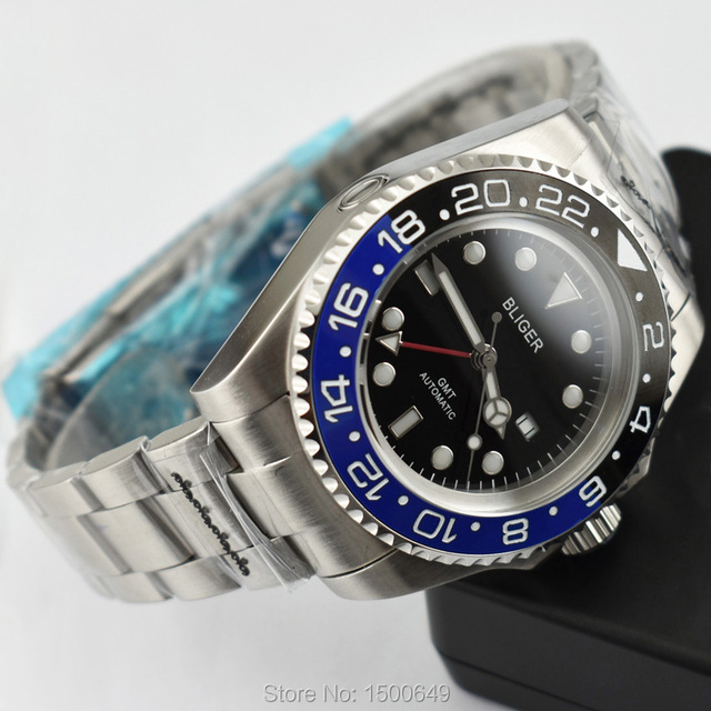 43mm BLIGER Big size red GMT Ceramic Bezel Luminous automatic Date Day men watches with Folding buckle
