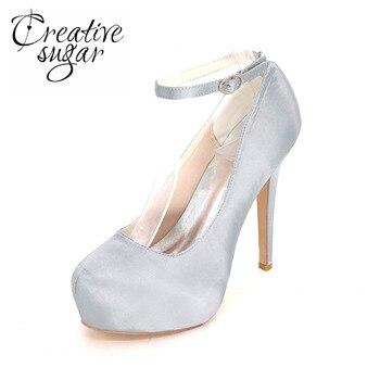 Creativesugar closed toe inside platform lady high heels satin dress shoes ankle strap pumps red white ivory silver grey blue
