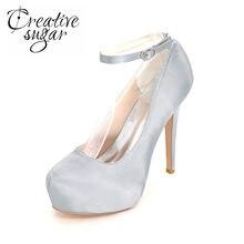 77eee834 Creativesugar cerrado dedo dentro plataforma señora tacones altos satén  vestido zapatos tobillo Correa bombas marfil blanco