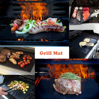 100% Non-stick BBQ Grill Mat Set of 3 - Heat Resistant, Reusable, Dishwasher Safe, Cleans Easily 40 * 33cm 3