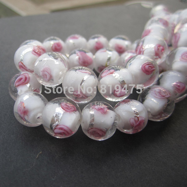 20Pieces/Lot 8mm 10mm 12mm Lampwork Glass Beads Flower With Silver Foil White Co