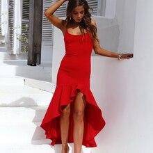 22019 summer new womens fashion square collar sexy sling backless ruffled irregular female dress