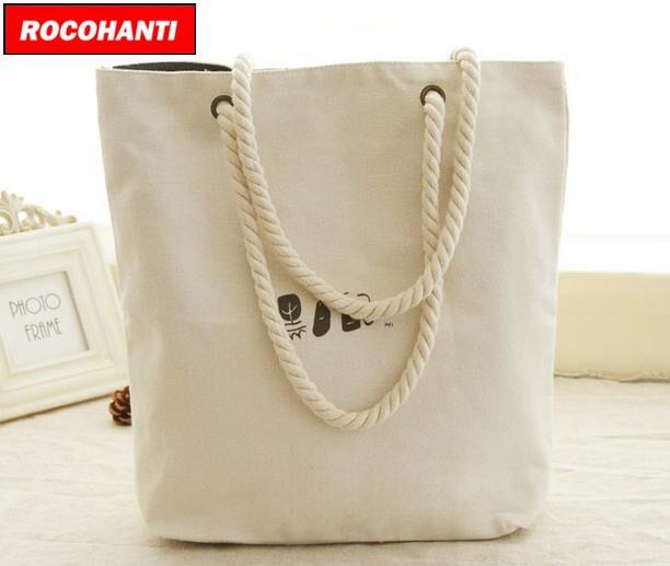 6b7402190ca ROCOHANTI Brand 50PCS Custom White Rope Handle Canvas Beach Bag Cotton  Canvas Zippered Tote Bag Heavy