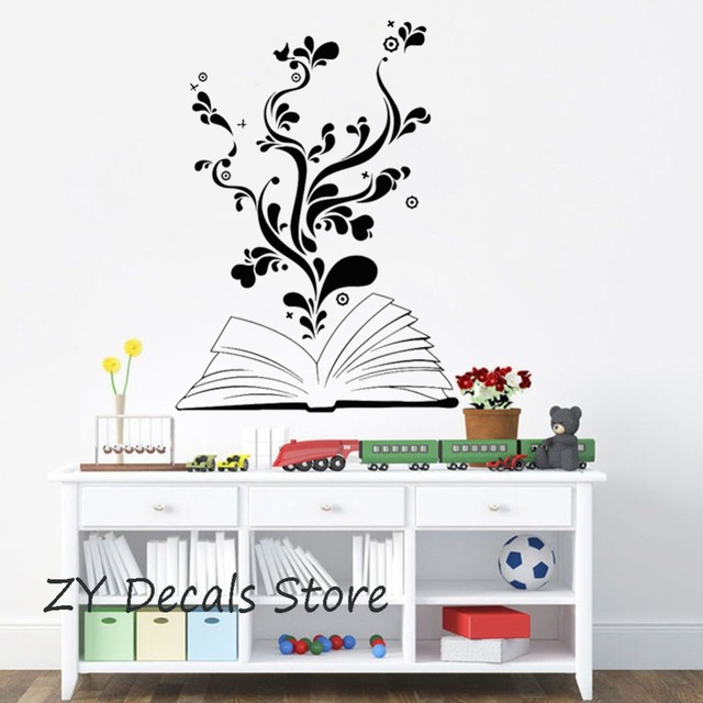 US $7.98 25% OFF Book Reading Wall Stickers Bedroom Flower Heart Romantic  Teen Decor Decals Removable Vinyl Wall Decal Kids Classroom Mural S662-in  ...