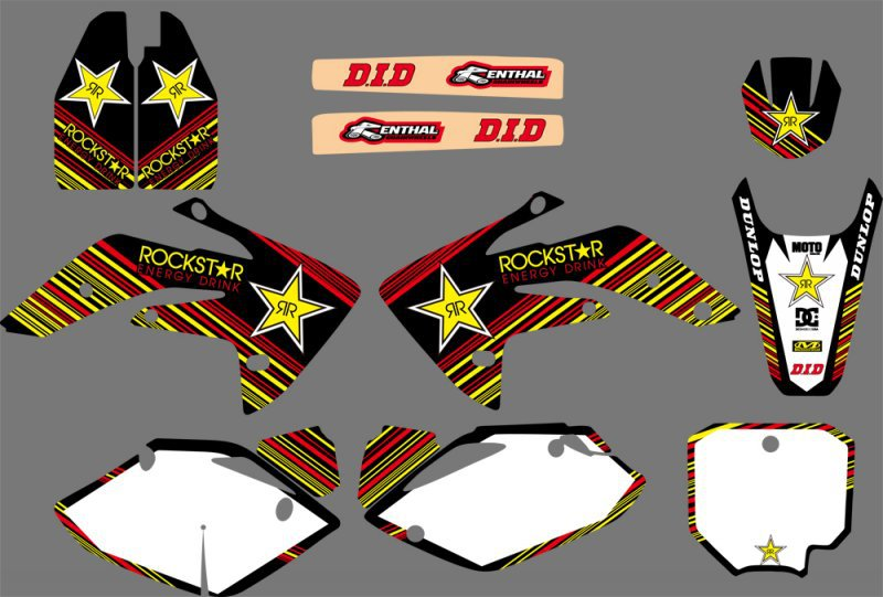 0079 Star NEW STYLE TEAM GRAPHICS & BACKGROUNDS DECALS <font><b>STICKERS</b></font> <font><b>Kits</b></font> for <font><b>Honda</b></font> CRF150R LIQUID COOLED 2007-2012 CRF <font><b>150</b></font> R image