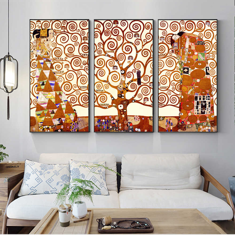 3 Panels Gustav Klimt Kiss Canvas Art Paintings Reproductions Classical The Tree Of Life Home Decorative Canvas Prints Cuadros