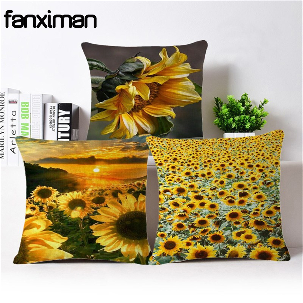 Fanximan hermosa pintura de girasol impreso funda de cojín housse de coussin fundas de almohada Floral para sofá silla almofadas-in Funda de cojín