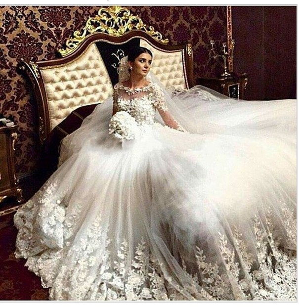 2017 new robe De Mariage antique lace long sleeve wedding dress ...