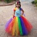 Newest Cartoon Kids Girl Little Pony Tutu Dress Rainbow Tutu Inspired Children Dress for Birthday Party Wedding Xmas TS098