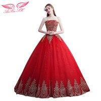 SH AnXin red lace księżniczka sąd Suknia ślubna czerwony kwiat koronki Suknia ślubna księżniczka kwiat czerwony złoty koronki suknia ślubna