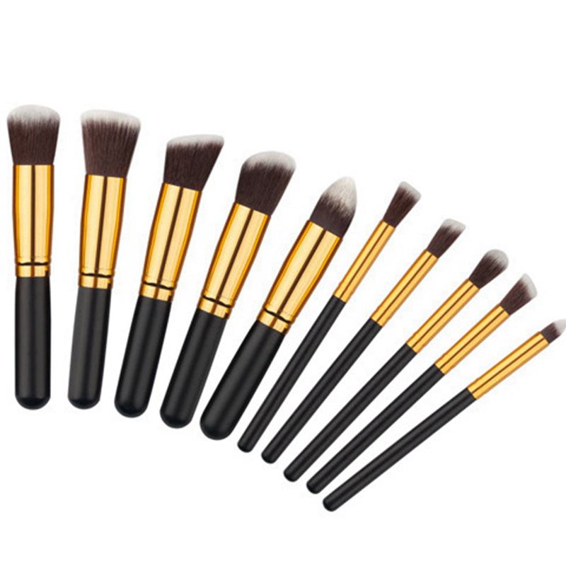 10pcs Natural Hair Eye Makeup Brushes Set Professional Eyeshadow Shadow Brushes Makeup Tool Shader Blending Make Up Brushes Set 2