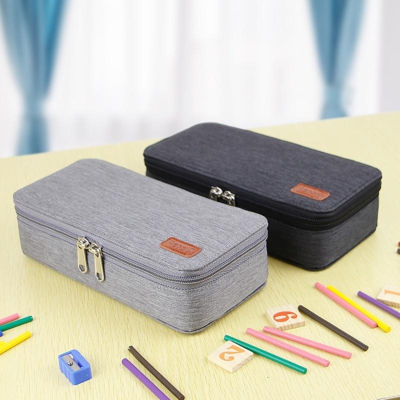 Solid Color Pencil Case Big Capacity Pencil Bag Storage Pens Holder Makeup Bag Organizer Office Supplies Stationery Pouch Bag