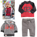 Autumn Kids Fashion Boy Clothes Toddler Clothing Infant Hooded Jacket+T-shirt+Pant 3pcs Baby set Children Outfits 0-5Year BC1143