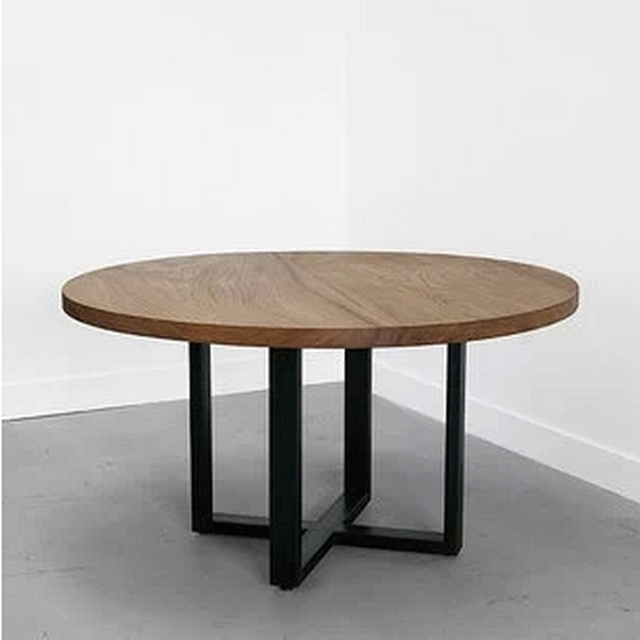 LOFT Wood Dining Table Large Circle Round Table Dinner Tables, Rustic Wrought  Iron Garden Tables