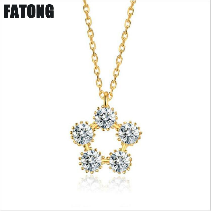 925 sterling silver lucky flower necklace female 18k gold sweet fashion J0281