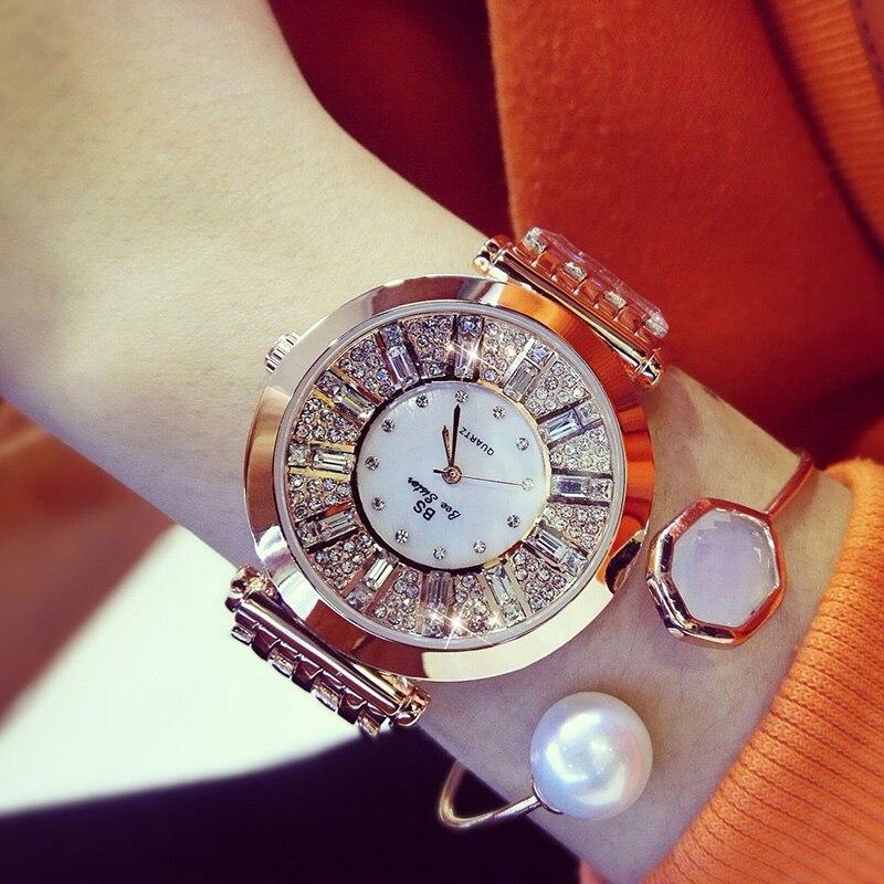 Kvinnor Klockor Diamond Luxury Känd märke Eleganta Klocka Quartz Klockor Ladies Rhinestone Armbandsur Relogios Femininos ZDJ006
