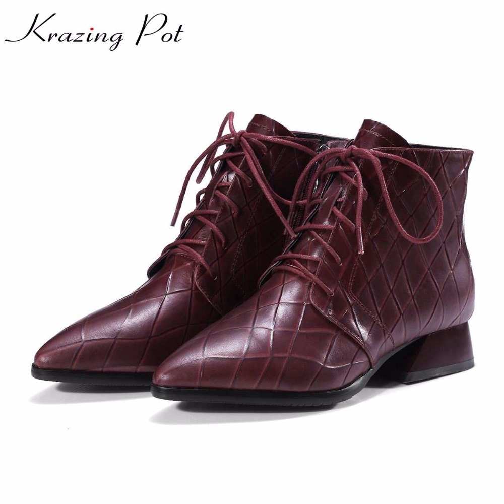 Krazing Pot new cow leather patterns leather fashion winter big size pointed toe med heels women lace up ankle Chelsea boots L56 fashion pointed toe lace up mens shoes western cowboy boots big yards 46 metal decoration