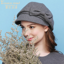 Charles Perra Brand Women Berets Autumn Winter New Warm Fashion Hats Casual Elegant Wool Hat Lady Beret With Bowknot 9252