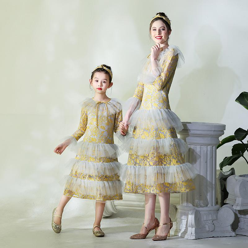 91847a0d Mother Daughter Runway Dress Flower Girls Lace Evening Ball Gown Mom and Me  Cake Wedding Dress Family Matching Outfits Vestidos