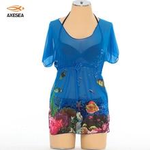 Waist Gathers Chiffon Bikini Wrap Dress Cover Up Transparent U-neck Loose Women's Beach Blouse Neon Sheer Cover-ups Beach Wear