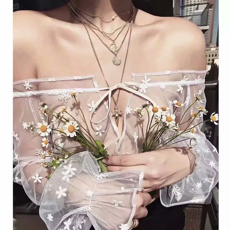 Ordifree 2019 Summer Women Sexy Transparent   Blouse   Long Sleeve Off Shoulder Crop Top Floral Embroidery   Blouse     Shirt